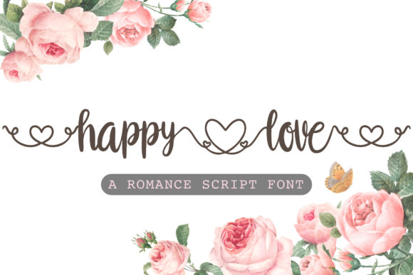 Print on Demand: Happy Love Script & Handwritten Font By AquariiD