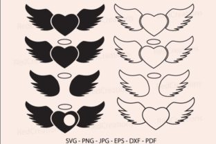 Heart with Wing Svg, Halo and Angel Wing Gráfico Crafts Por RedCreations