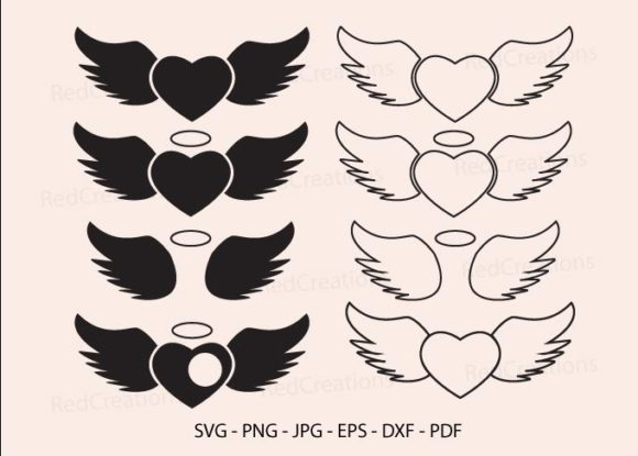 Heart with Wing Svg, Halo and Angel Wing Graphic Crafts By RedCreations