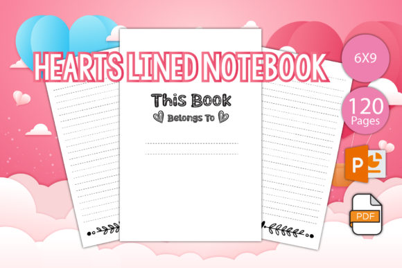 Print on Demand: Hearts Lined Notebook - Printable Graphic KDP Interiors By IsaraDesign