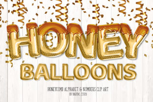 Print on Demand: Honey Foil Balloon Alphabet Clipart Graphic Illustrations By Digital Curio