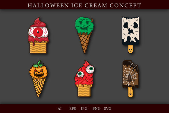Ice Cream Halloween Bundle Grafik Illustrationen von ogsstudio25