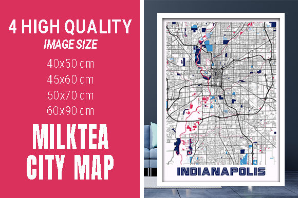 Indianapolis - Indiana MilkTea City Map Graphic Photos By pacitymap