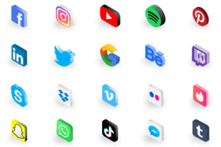 Print on Demand: Isometric Social Media Icon Set Graphic Icons By Frattaglia