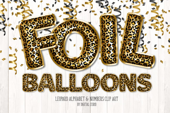 Print on Demand: Leopard Foil Balloon Alphabet Clipart Grafik Illustrationen von Digital Curio