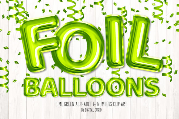 Print on Demand: Lime Green Foil Balloon Alphabet Clipart Graphic Illustrations By Digital Curio