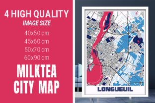 Longueuil - Canada MilkTea City Map Graphic Photos By pacitymap