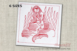 Mermaid Sitting on Rock Lineart Marine Mammals Embroidery Design By Redwork101
