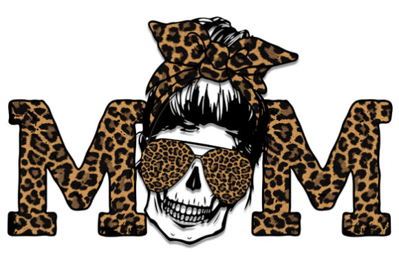 Mom Life Skull  Leopard Sublimation Graphic Print Templates By DenizDesign
