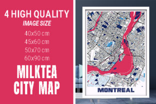 Montreal - Canada MilkTea City Map Graphic Photos By pacitymap