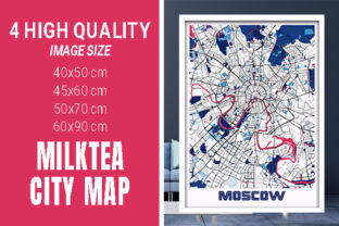Moscow - Russia MilkTea City Map Graphic Photos By pacitymap
