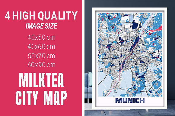 Munich - Germary MilkTea City Map Graphic Photos By pacitymap