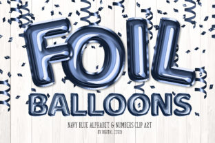 Print on Demand: Navy Blue Foil Balloon Alphabet Clipart Graphic Illustrations By Digital Curio