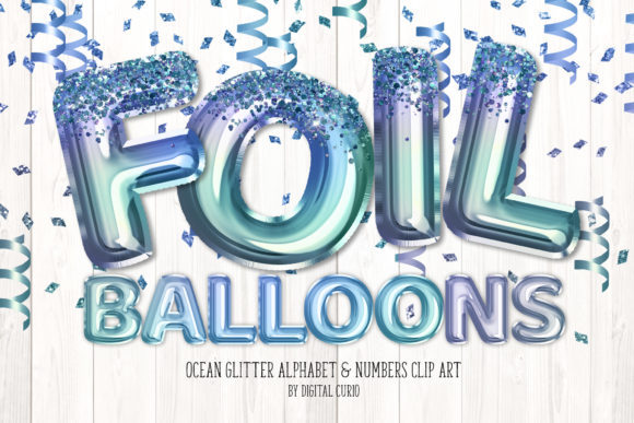 Print on Demand: Ocean Glitter Balloon Alphabet Clipart Grafik Illustrationen von Digital Curio