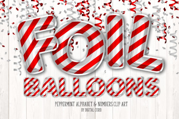 Print on Demand: Peppermint Foil Balloon Alphabet Clipart Grafik Illustrationen von Digital Curio
