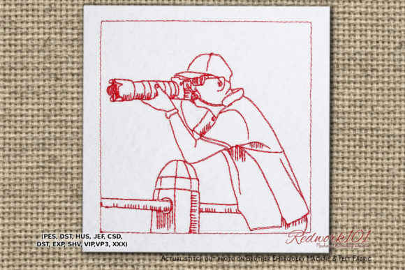 Photographer Shooting Lineart Work & Occupation Embroidery Design By Redwork101