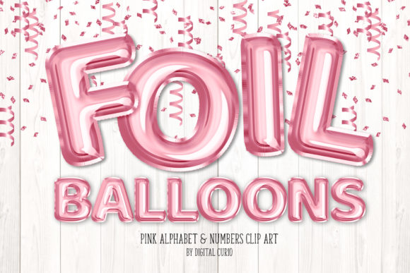 Print on Demand: Pink Foil Balloon Alphabet Clipart Grafik Illustrationen von Digital Curio