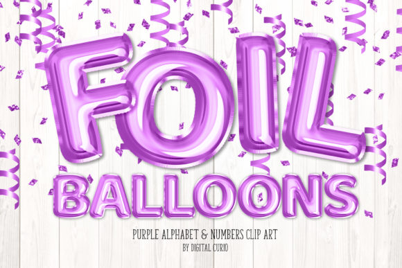 Print on Demand: Purple Foil Balloon Alphabet Clipart Graphic Illustrations By Digital Curio