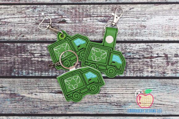 Recycling Truck ITH Snaptab Keyfob Transportation Embroidery Design By embroiderydesigns101