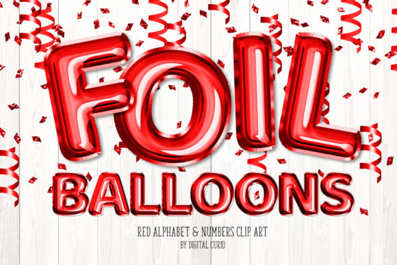 Print on Demand: Red Foil Balloon Alphabet Clipart Graphic Illustrations By Digital Curio