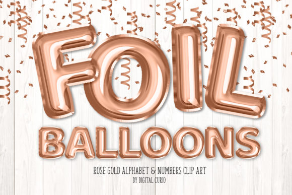 Print on Demand: Rose Gold Foil Balloon Alphabet Grafik Illustrationen von Digital Curio