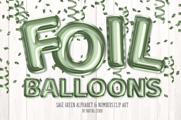 Print on Demand: Sage Green Foil Balloon Alphabet Graphic Illustrations By Digital Curio