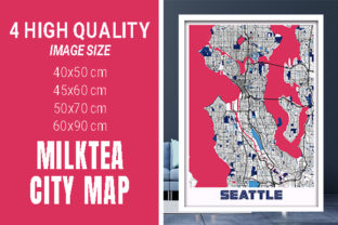 Seattle - United States MilkTea City Map Graphic Photos By pacitymap