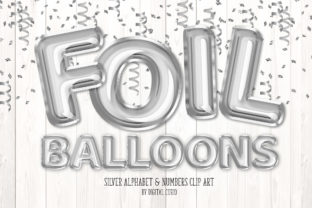 Print on Demand: Silver Foil Balloon Alphabet Clipart Graphic Illustrations By Digital Curio