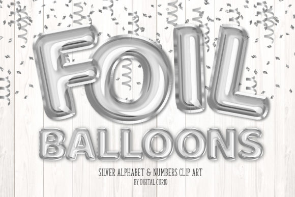 Print on Demand: Silver Foil Balloon Alphabet Clipart Grafik Illustrationen von Digital Curio