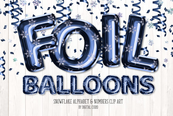 Print on Demand: Snowflake Foil Balloon Alphabet Clipart Graphic Illustrations By Digital Curio