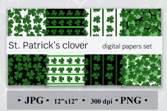 St. Patrick's Clover Digital Papers Set Graphic Backgrounds By SunnyColoring