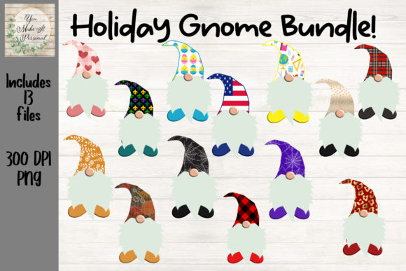 Print on Demand: Sublimation Gnome Bundle, Holiday Gnomes Graphic Crafts By You Make It Personal