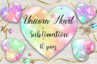 Print on Demand: Sublimation Unicorn Heart Bokeh Clipart Graphic Backgrounds By PinkPearly