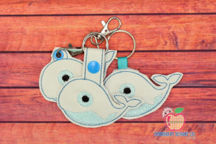 Swimming Blue Whale in the Hoop Keyfob Marine Mammals Embroidery Design By embroiderydesigns101