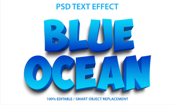 Text Effect Blue Ocean Premium Graphic Graphic Templates By yosiduck