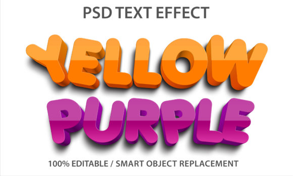 Text Effect Yellow and Purple Premium Grafik Grafik-Templates von yosiduck