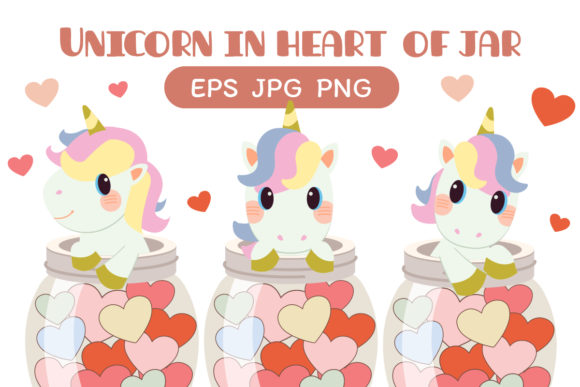 Unicorn with Heart of Jar Clipart Graphic Illustrations By Guppic the duck