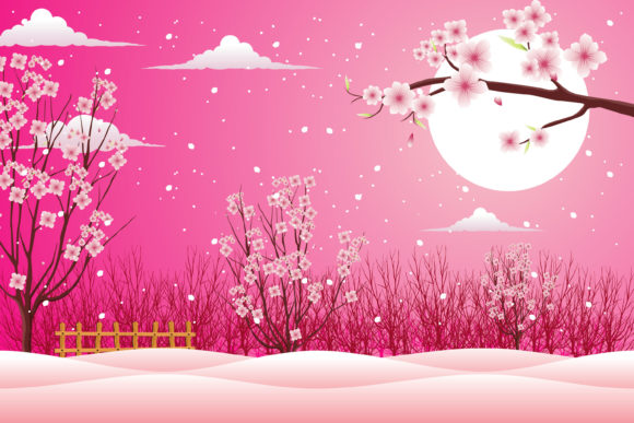 Print on Demand: Valentine Cherry Blossom with Snow Iced Graphic Illustrations By edywiyonopp