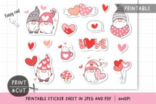 Valentine Gnome Printable Stickers. Graphic Illustrations By CatAndMe