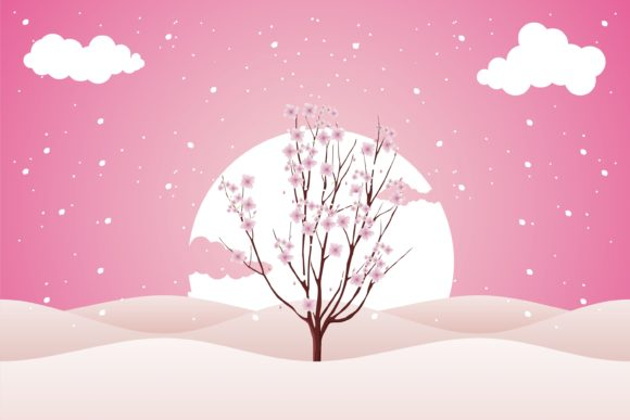 Print on Demand: Valentine with Beauty Cherry Blossom Graphic Illustrations By edywiyonopp