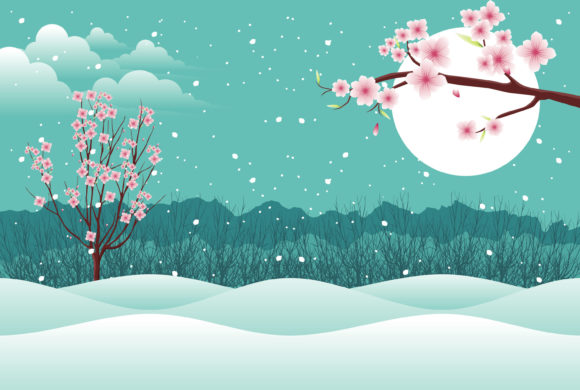 Print on Demand: Valentine with Cherry Blossom in Snow Graphic Illustrations By edywiyonopp