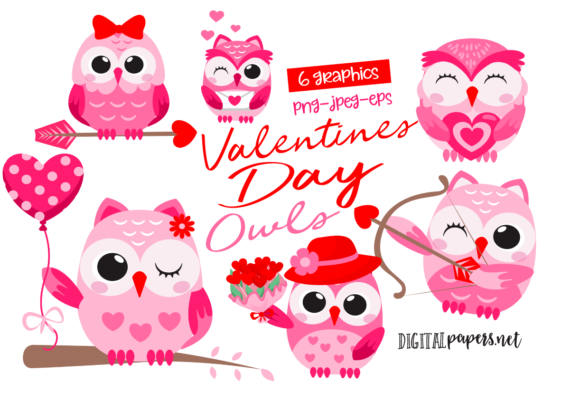 Print on Demand: Valentine's Day Owls Gráfico Ilustraciones Por DigitalPapers