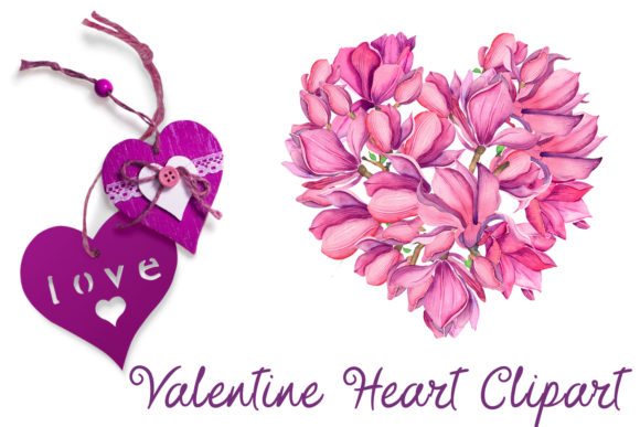 Print on Demand: Valentines Magnolia Heart Clipart. Love Graphic Illustrations By ElenaZlataArt