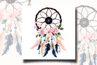 Print on Demand: Watercolor Dream Catcher with Floral 11 Graphic Illustrations By asrulaqroni