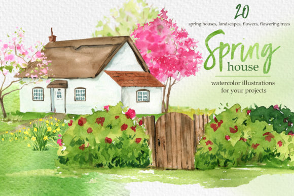 Watercolor Spring House Clipart Graphic Illustrations By lena-dorosh