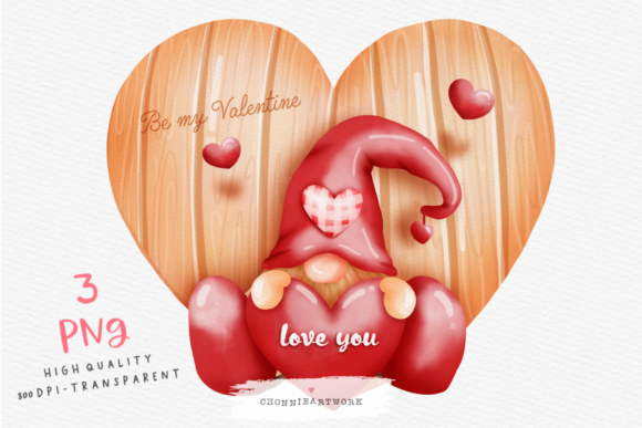 Watercolor Valentine's Day Gnome Graphic Crafts By Chonnieartwork