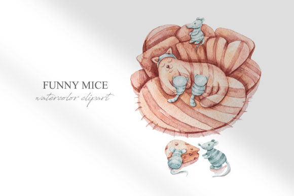 Print on Demand: Watercolor Cute Cats and Mice Clipart Graphic Illustrations By Tiana Geo
