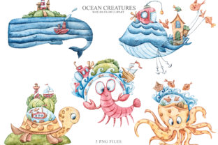 Print on Demand: Watercolor Cute Sea Animals Clipart Graphic Illustrations By Tiana Geo