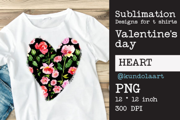 Watercolor  Flower Heart PNG Sublimation Graphic Print Templates By KundolaArt