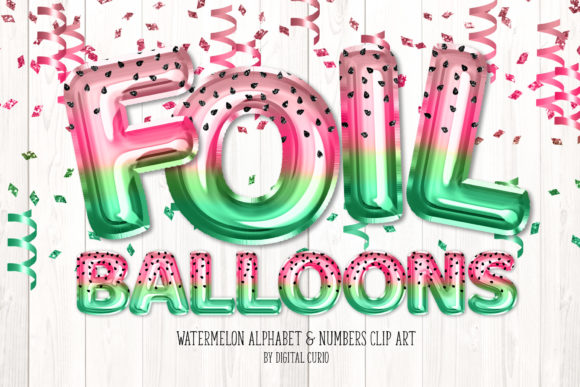 Print on Demand: Watermelon Foil Balloon Alphabet Clipart Grafik Illustrationen von Digital Curio